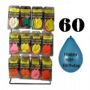 Pack of 10 Balloons - Age 60 / Happy 60th Birthday
